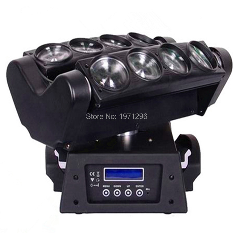Fast&Free shipping 8x10W 4IN1 RGBW LED Spider Moving Head Beam Light DMX Led Light 3 Degree Beam Angle Led Stage Lights