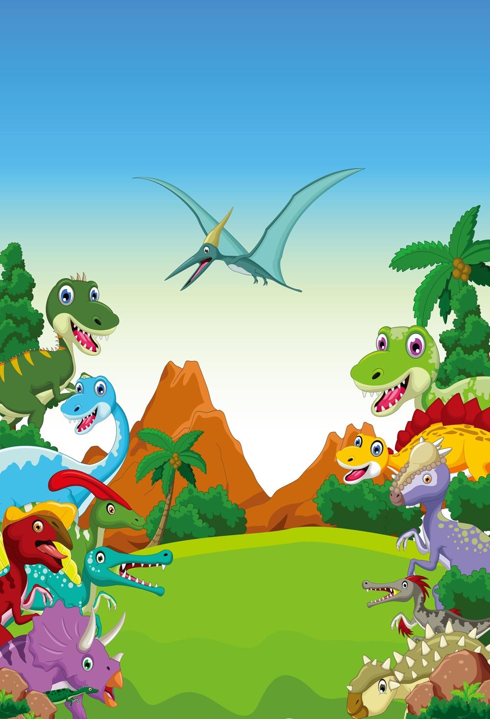 Baby Birthday Photography Backdrop Photobooth Background Cartoon Jungle Dinosaur Wall Decoration Xt 6717 Huayi Background Aliexpress