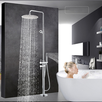 Floor Mounted Shower Faucet Single Handle Claw Foot Tub Sink Faucet 12 Rainfall Shower Head Height Adjustable with Handshower
