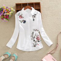 Spring Long Sleeves OL Women Shirt 2017 New Fashion Large Size Casual Loose Flowers Embroidered Women