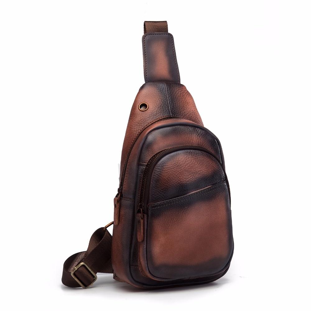 Men Quality Leather Casual Fashion Travel Chest Pack Sling Bag Design One Shoulder Cross Body Bag Daypack 8