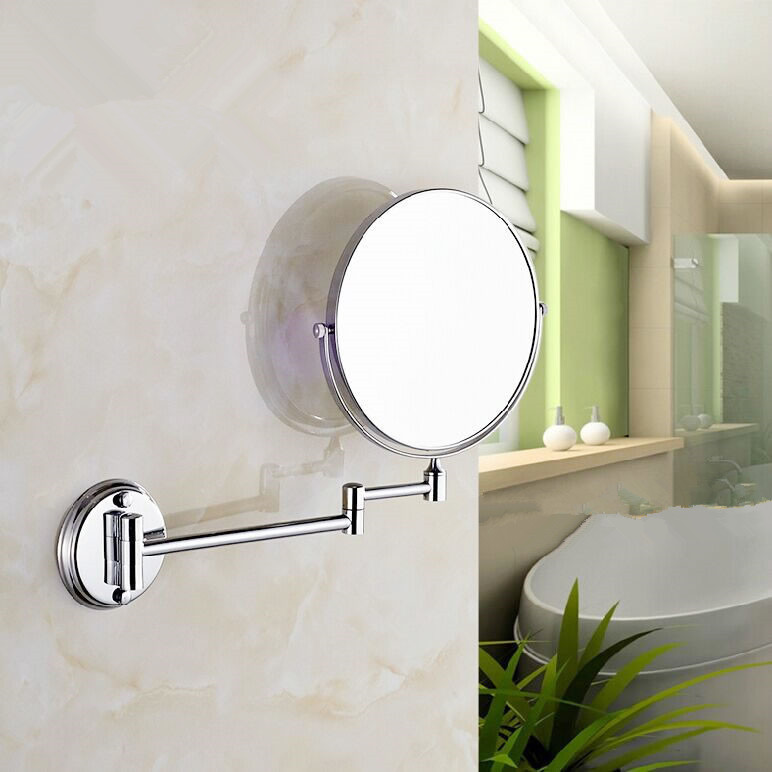 Stainless Steel Wall Mirror Folding Wall Mirror Double Faced Retractable Makeup Mirror Bathroom