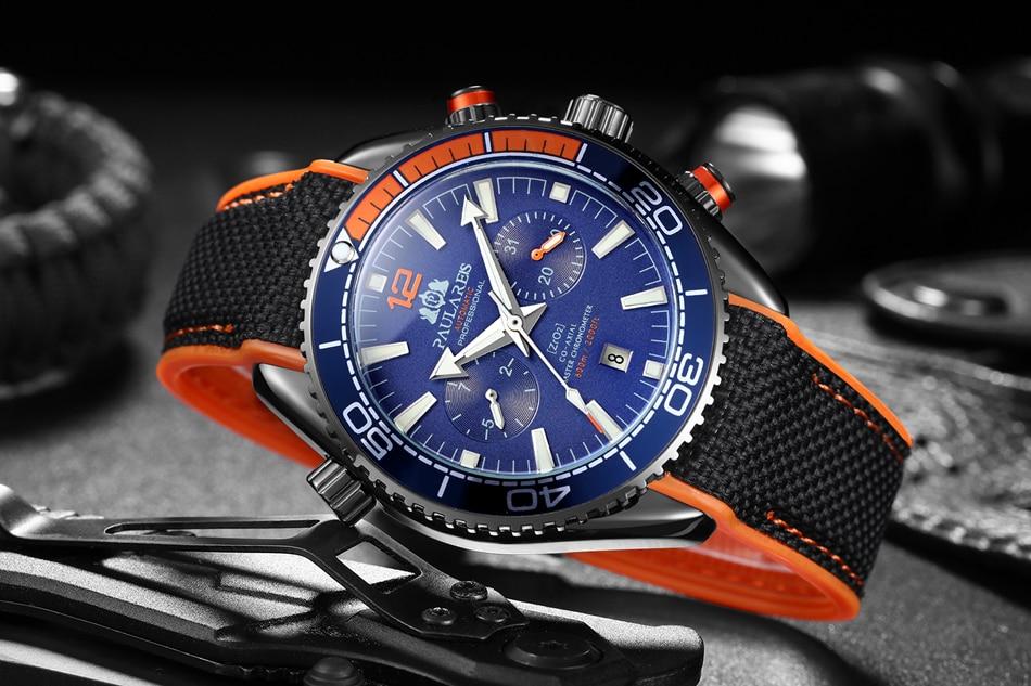 Men Automatic Self Wind Mechanical Canvas Rubber James Bond 007 Style Orange Blue Multifunction Date Month Sport Watch