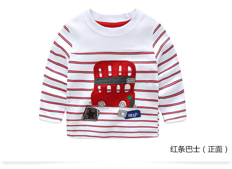 2018 Spring Autumn For 2-9 10 Years Children Cotton Striped Patchwork Cartoon Car Bus Truck Baby Kids Boys Long Sleeve T Shirts (20)
