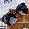 Gafas De Sol feminino gafas de Sol de Las Mujeres de Moda de Alta Calidad Retro Diseñador Estupendo Redondo Del Círculo Gafas de Ojo de Gato Semi-Sin Montura