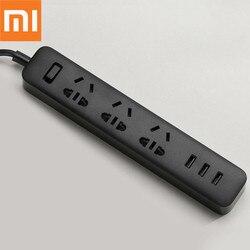 Oryginalny Xiaomi Smart Home elektroniczne gniazdo listwy zasilającej szybkie ładowanie 3 USB + 3 gniazda standardowa wtyczka rozszerzenie interfejsu ue usa w Wtyczki elektryczne od Elektronika użytkowa na