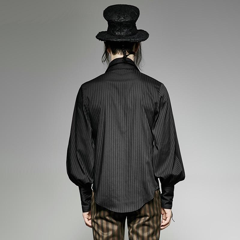 Steampunk chemise homme à manches longues à rayures mode ample cravate la corde manchette fête Blouses noir bleu - 3