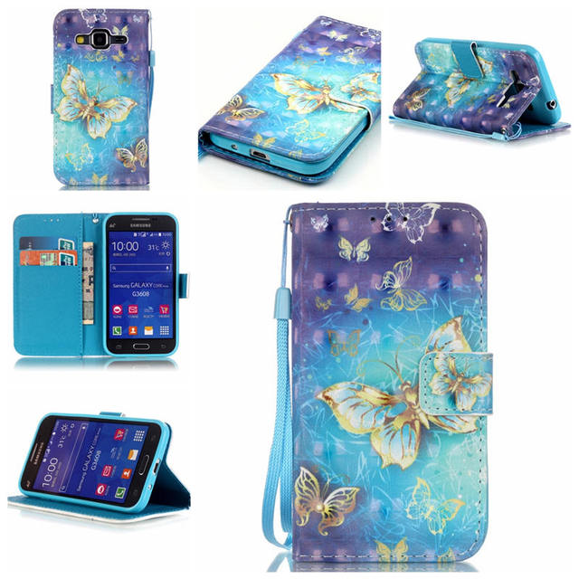 12 Patterns 3D  Painted Case For Samsung Galaxy Core Prime LTE G360 G3608 PU Leather Wallet Flip Case Cover with Card Slot
