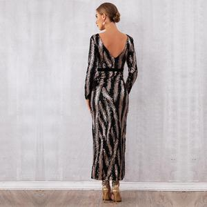 Image 5 - Newest Celebrity Party Long Dress Women Long Sleeve O Neck Sequined Sexy Split NightClub Backless Maxi Dress Women Vestidos