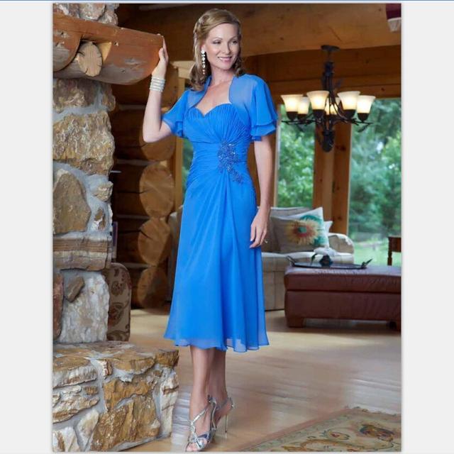 Custom Made 2017 Querida Chiffon Azul Tea Comprimento Mãe De As Mulheres do Vestido Formal do Vestido de Noiva Azul Royal para o Casamento partido