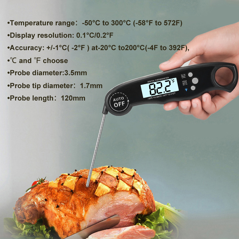 EAAGD Waterproof and Instant Read Food Thermometer with Calibration and Backlight Functions including Long Folding Probe 10