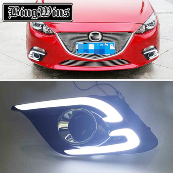 New Pair CC Light Bar LED Daytime Running Light For Mazda 3 Axela DRL Fog Lamp Super Bright 2013 2014 2015 With Turn Signal