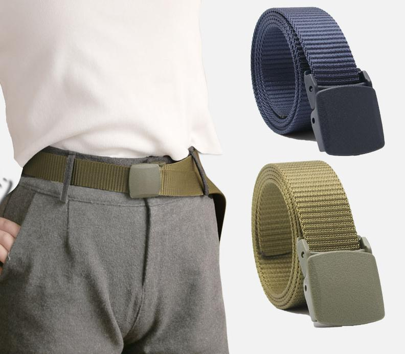 New Canvas Men's Belt Plastic Buckle Hypoallergenic Nylon Quick-drying Belt Lightweight Outdoor Sports And Leisure Unisex Belt