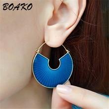 Punk Personality Circle Hoop Earrings for Women Fashion Ear Jewelry Geometric Round Drip Oil Celebrity Loop