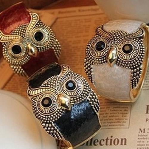 2020 new Fashion Women Enamel Alloy Big Eyes Owl Wide Bangle Cuff Bracelet Jewelry for her gift(China)