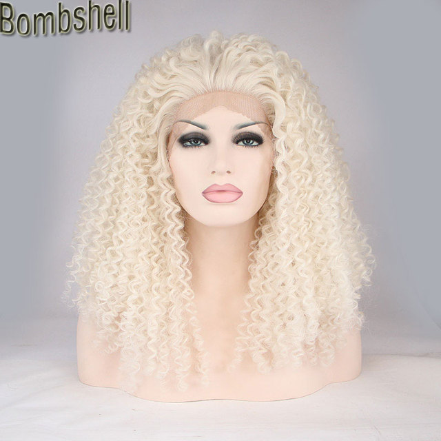 Bombshell Afro Kinky Curly White Blonde Synthetic Lace Front Wig