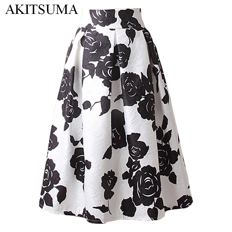 A line midi skirt women pleated high waist skirt vintage floral print casual 2016 summer fashion ball gown AKITSUMA
