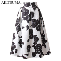A Line Midi Skirt Women Pleated High Waist Skirt Vintage Floral Print Casual 2016 Summer Fashion