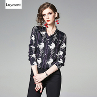f73d031970ff56 Women Abstract Horse Print Slim Spring Blouse Femme Single Breasted Fashion  Office Lady Shirt 2019 Vintage. Mulheres Primavera Blusa ...