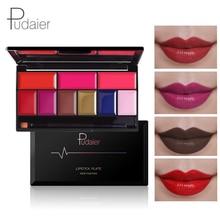 Pudaier 9 Kleuren Shimmer Lipstick Palet Lippen Verf Waterproof Rode Lip Tint Langdurige Gothic Lipstick Cream Make-up Palet