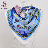 BYSIFA Women Twill Scarves Capes Winter Plaid Brand Large Square Scarves Shawl 90*90cm Spring Autumn Top Grade Pure Silk Scarf