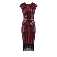 V neck Fashionable Fringed Dress With Retro Sequins And Nailed Beads Sequined Dress Glitter Happy Cloud Dress Cosplay