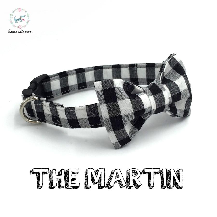 das weiße und schwarze Hundehalsband mit Fliege persönliche benutzerdefinierte handgefertigte Haustier Pupply einstellbare Hund & Katze Halskette Mode