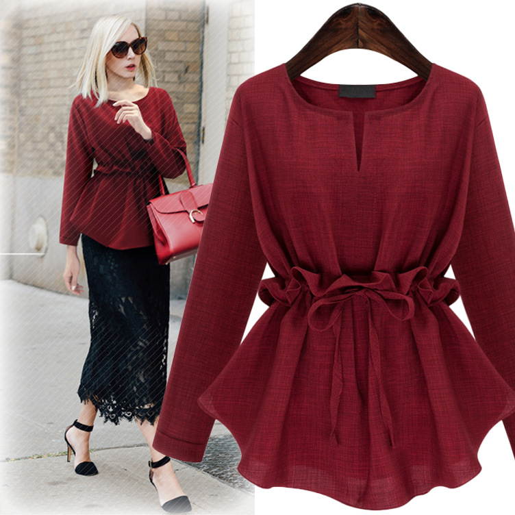 2018 Spring new design WT1013 elegant office ladies blouse o-neck long sleeves woven red tunics top with ruffles waistband M-5XL