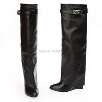Модные женские двойной ремешок с пряжкой Высокий каблук Длинные кожаные ботинки с закрытым носком Сапоги до колена на танкетке на осень зим