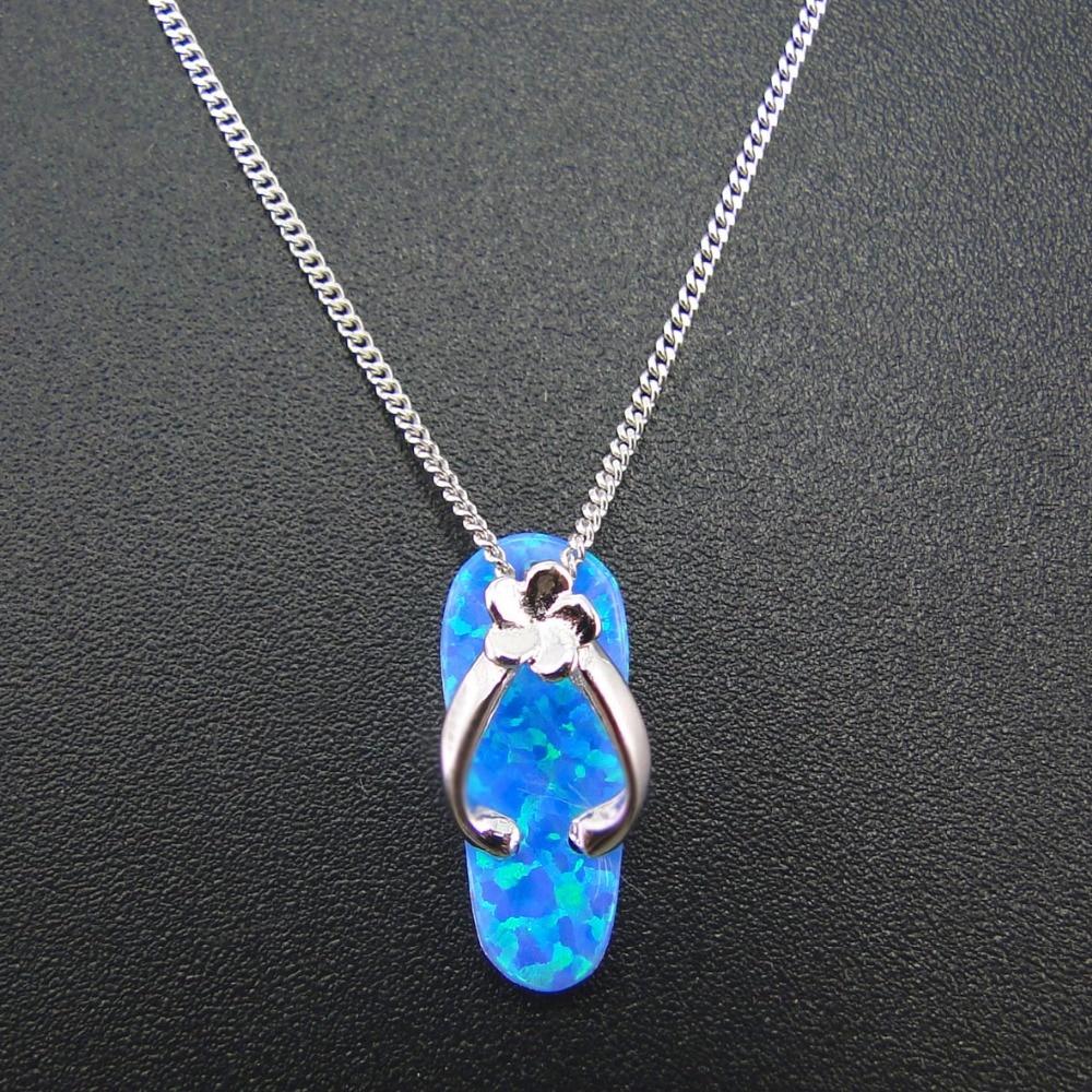 100% 925 Sterling Silver Jewelry High Quality Women Pendants Flip flop Pendants Blue Fire Opal Pendants for Women Without chain