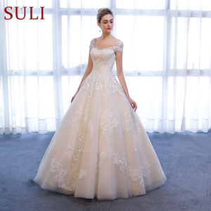 Image 3 - SL 307 Charming A linie Kurzarm brautkleider Spitze Appliques Strand Vintage SuLi Hochzeit Kleid frau hochzeit kleider für braut