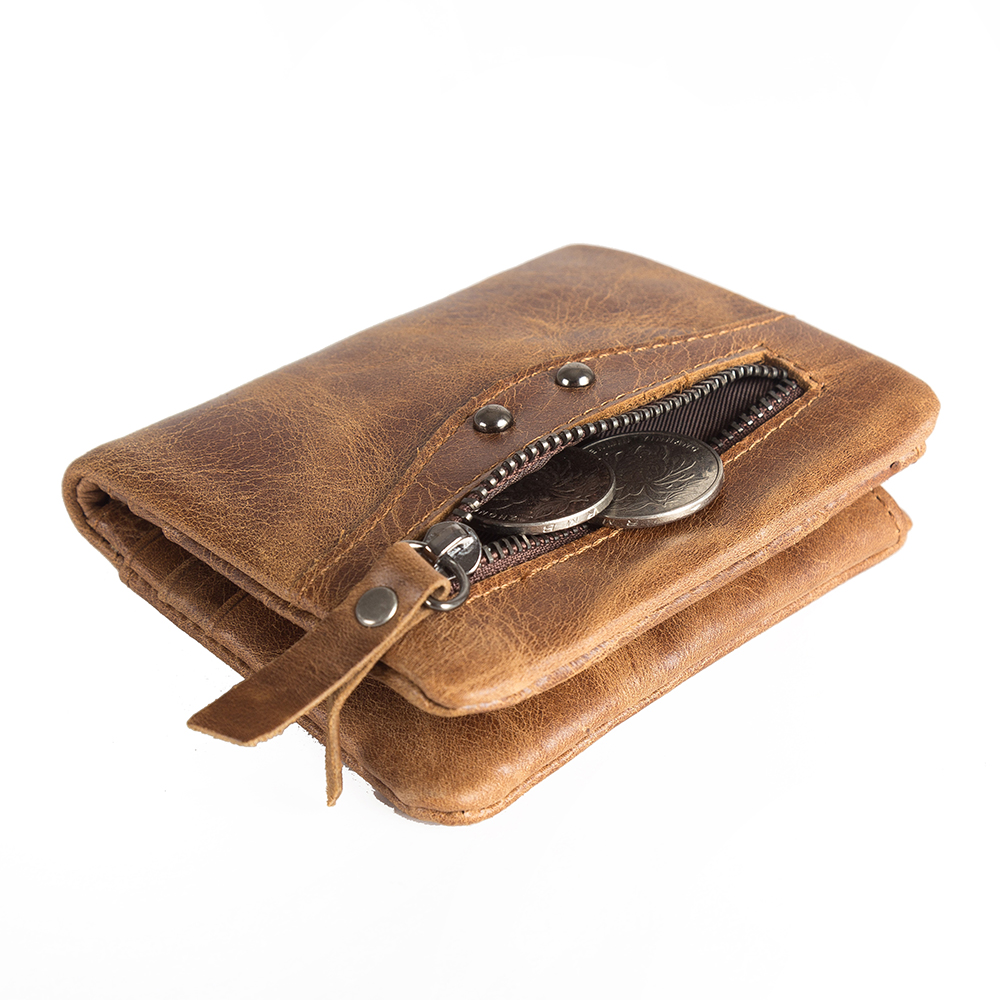 Genuine Leather Wallet Male Coin Purse Men Brown 7 Card Pocket 2 Zipper Coin Holder with RFID Card Protect Coin Purse Men new design 100% leather genuine male wallets slim short men wallet with zipper coin purse pocket soft leather card holder wallet