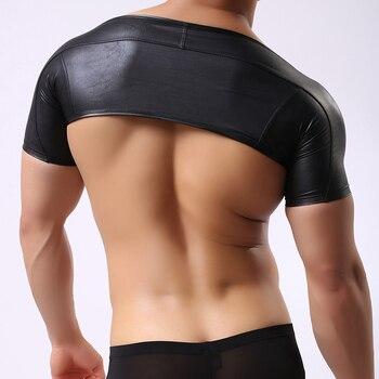2016 diseño de moda para hombres negro de manga corta de cuero de imitación Tops Lencería medio chaleco ropa interior fetiche traje body masculino fuerte