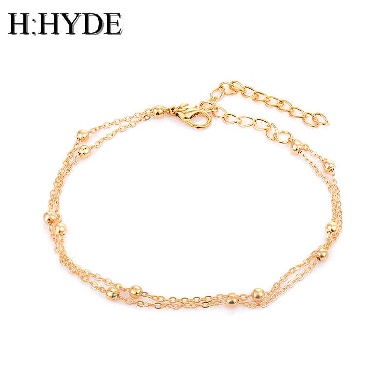 H:HYDE Gold Silver Chic Concise Double Layer Bridal Wedding Anklets Chain Charm Beads Leg Bracelet Anklet Foot Jewelry For Women