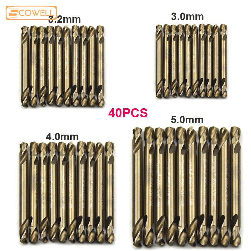 30% Off 40pcs HCO M35 Cobalt Double Ended Spiral Drill DIY Tools Double Ended Jobber Drill Bits Twist Drill 3mm,3.2mm,4mm,5mm