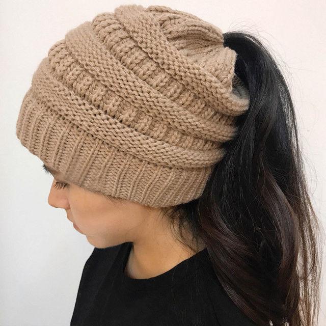 Chapéu de tricô Mulheres Crochet Gorro Cap Quente Malha de Lã 2019 Inverno  Quente Malha skullies d33e8af1910