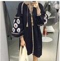 Boho вышивка этническая рубашка fringe блузка лето женщины блузки и рубашки вышитые топ размер осень дизайн хлопок dress