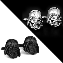 Classic Movie Series Star Wars Cuff Links Darth Vader Mask Cufflinks Trendy Black Jewelry Wedding Gift Cuff Button for Men rj free shipping silver star wars cuff links robot bb8 r2d2 fighter knight stormtrooper tie clips cufflinks women men jewelry