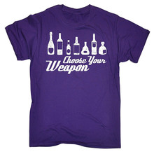 Create Your Own T Shirt Design MenS Short Choose Weapon Booze ... Bottle Loose Zomer O-Neck Shirts