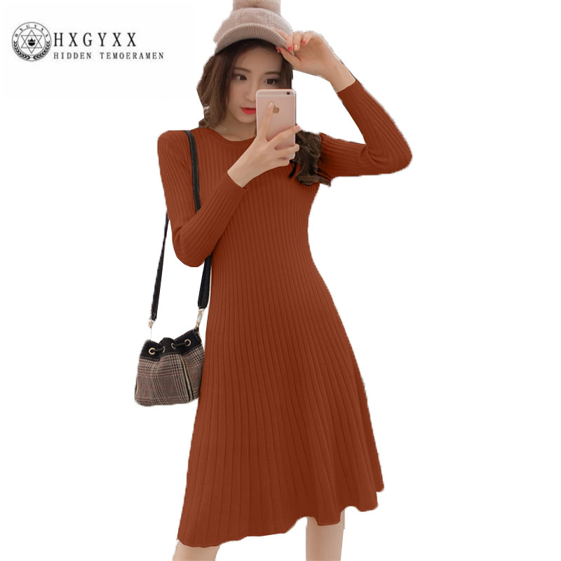2018 New Women Spring Autumn knitted Dress Fashion simple Slim Female render Dress Temperament Long sleeve long Dresses QZ022 free shipping 2017 new fashion long spring and summer bell bottom jeans boot cut women slim long trousers lacing up flare pants