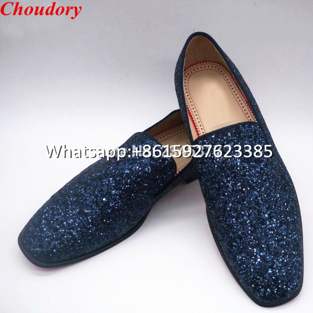 d806c6d6ccd Choudory New Blue Sequined Smoking Slippers Loafers Celebrity Bling Flats  For Men Wedding Casual Flat Leisure Shoes High Quality