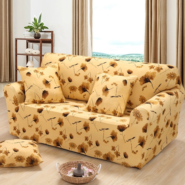 Yellow Color Plant Soft Elastic Sofa Cover Corner Single/sofa Protector  Double Four 3 Seater