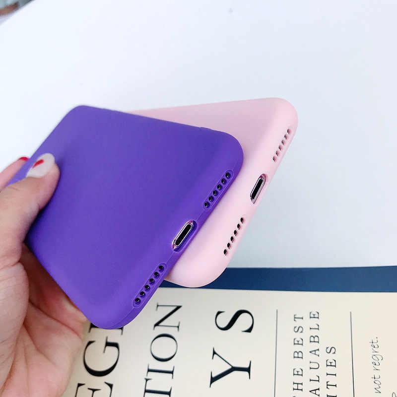 الحلوى اللون ماتي الهاتف حقيبة لهاتف أي فون 7 زائد 6 S 6 s 8 5 5 s SE ل فون XS ماكس X S XR بسيطة الصلبة لينة TPU حالات الغطاء الخلفي