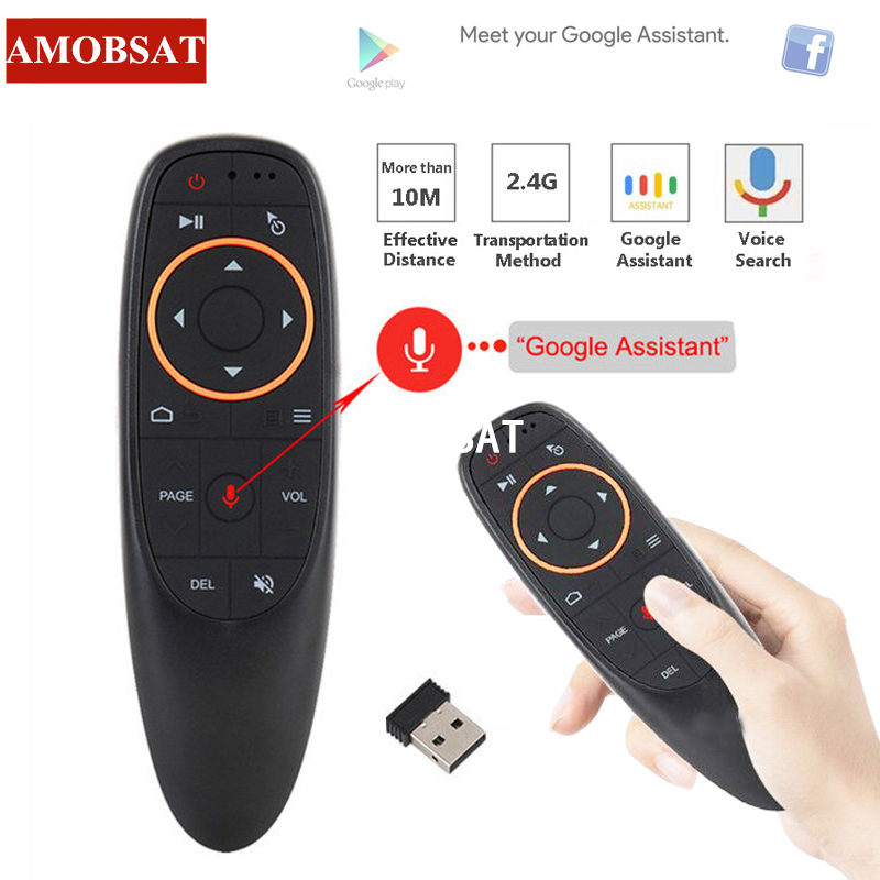 AMOBSAT G10 Air Mouse Voice Remote Control with 2.4G USB Receiver Gyro Sensing Mini Wireless Smart for Android TV BOX PC