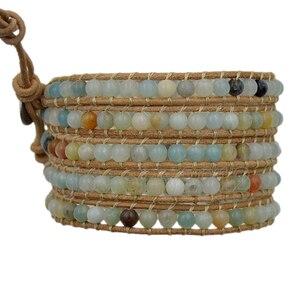 Image 2 - 3 pcs/Lot 5 enveloppes naturel multicolore Amazonite hommes femmes pierre gemme Wrap véritable Bracelet en cuir Bracelet perles de mode