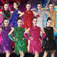 Latin Dance Dress For Women Sequin Fringe Dress For Tango Cha Cha Rumba Latin Dress Dancer Stage Costume Dancewear VDB029