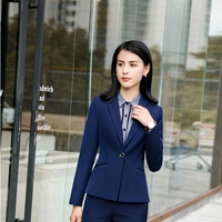 Formal Long Sleeve Fashion Navy Blue Blazers and Jackets Coat For Women Female Tops Outwear Clothes Business Work Wear Uniforms