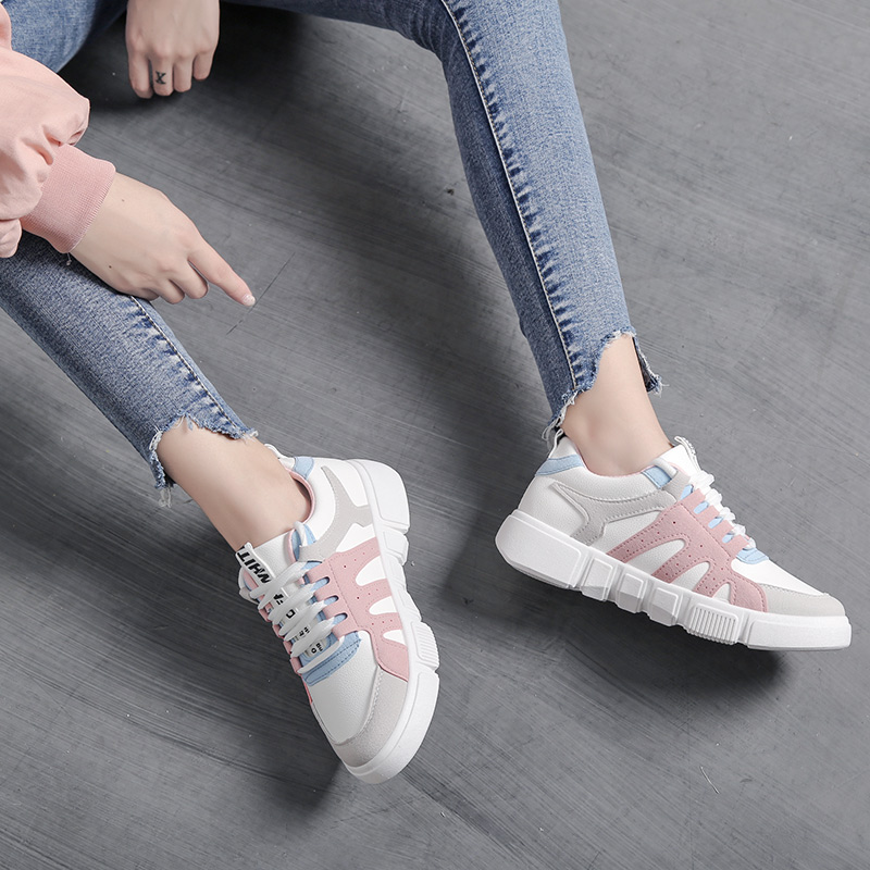 Shoes woman 2019 thick bottom Sewing white platform sneakers tenis feminino student casual canvas women's shoes Women sneakers