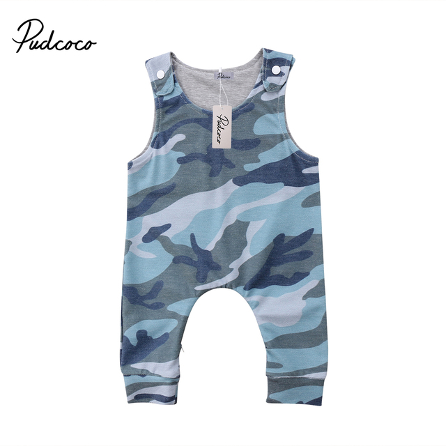2188fb27f155b Cool Camouflage Newborn Baby Boy Girl Romper floral print Cotton Jumpsuit Outfits  Clothes sleeveless button Summer Rompers 0-24M