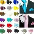 Necktie Handkerchief Cufflinks Set Solid Men's Silk Ties Plain Wedding Groom Party Grey Gold Green Brown ST2